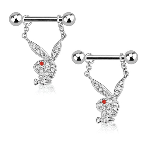Playboy Nipple Bar Bunny Multi Paved Gems 14G Dangle 316L Surgical Steel Ring 2PCS - BodyJ4you