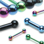Straight Barbell Green Steel 14G-16G Nipple Tongue Nose Tragus Piercing Jewelry - BodyJ4you