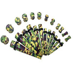 Taper Kit 24 Pieces Camouflage Army Green Saddle Plugs 6G-12mm Stretching Kit - BodyJ4you
