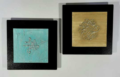 "Unique Abstract Mixed Media Art Blue Beige Black Accent Decor Set of 2 12"" x 12""  - Oasis"