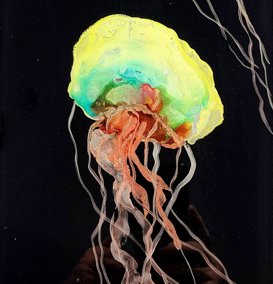 "1/1 Unique Abstract Underwater Painting 27"" x 8"" - Cable Beach Jelly Duo"