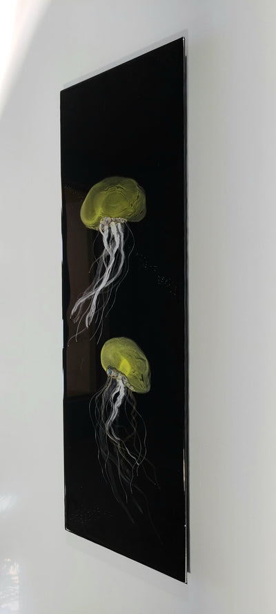 "1/1 Original Abstract Jellyfish Painting 24"" x 8"" - Puget Jelly"