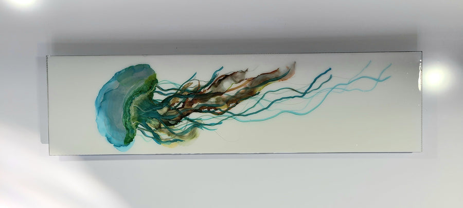 "1/1 Unique Abstract Colorful Jellyfish Painting 30"" x 8"" - Brisbane Jelly"