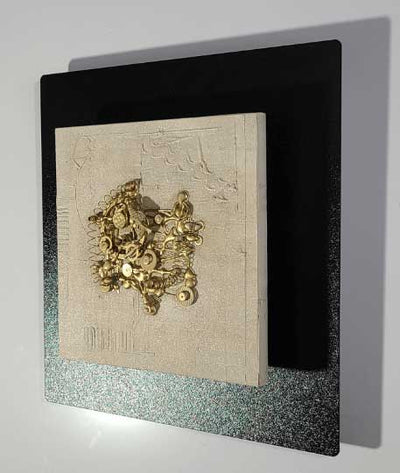 "Unique Steampunk Mixed Media Art Black with Gold Tones Accent Decor 12"" x 12""  - Modern Dystopia"