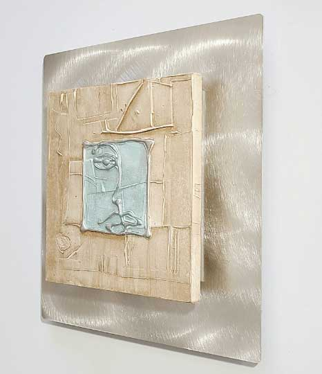 "Abstract Face Mixed Media Art Portrait Beige with Blue Tones Accent Decor 12"" x 12""  - Esprit"