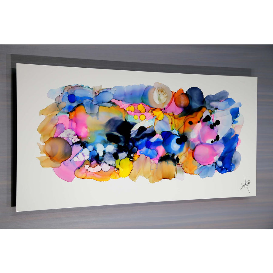 "Now 50% Off! 48"" x 24"" Prismatic Modern Abstract Painting ""Comp 1"" by Jon Allen - Only 1"