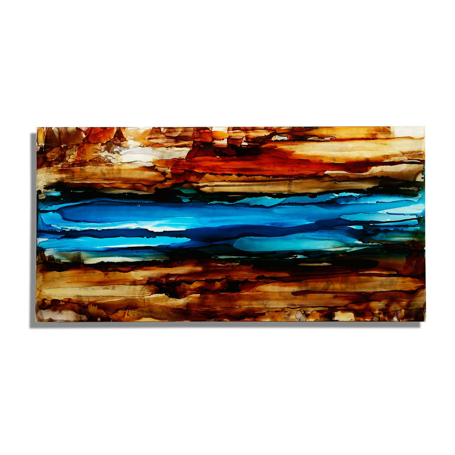 "Only One! 48"" x 24"" Brown and Blue - ""River of Dreams III"" by Jon Allen"