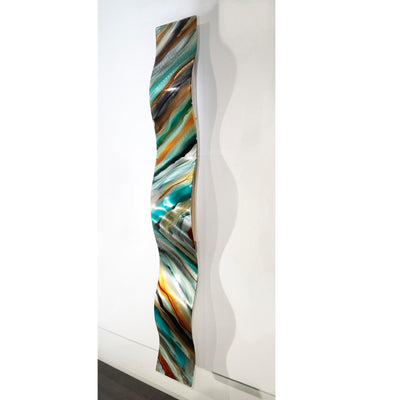 "Only One! 47"" x 6"" Hand-Painted Wave Blue, Charcoal & Earthtones - JAC 1020 by Jon Allen"