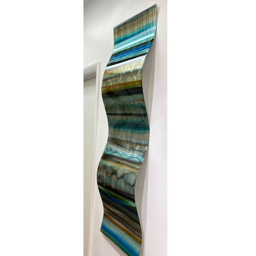 "Only One! EXTRA LARGE 57"" x 16"" Hand-Painted Blue & Earthtone Fusion Wave  - JAC 1023 by Jon Allen"