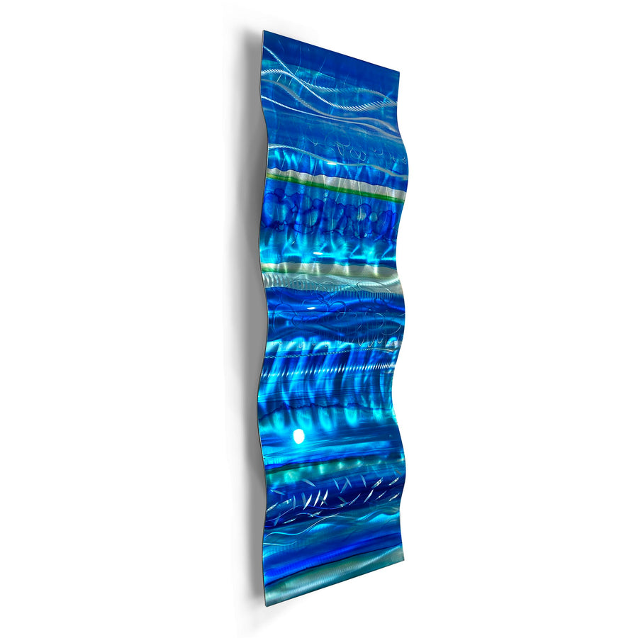 "Only One! EXTRA LARGE 57"" x 16"" Hand-Painted Blue & Aqua Wave - JAC 1029 by Jon Allen"