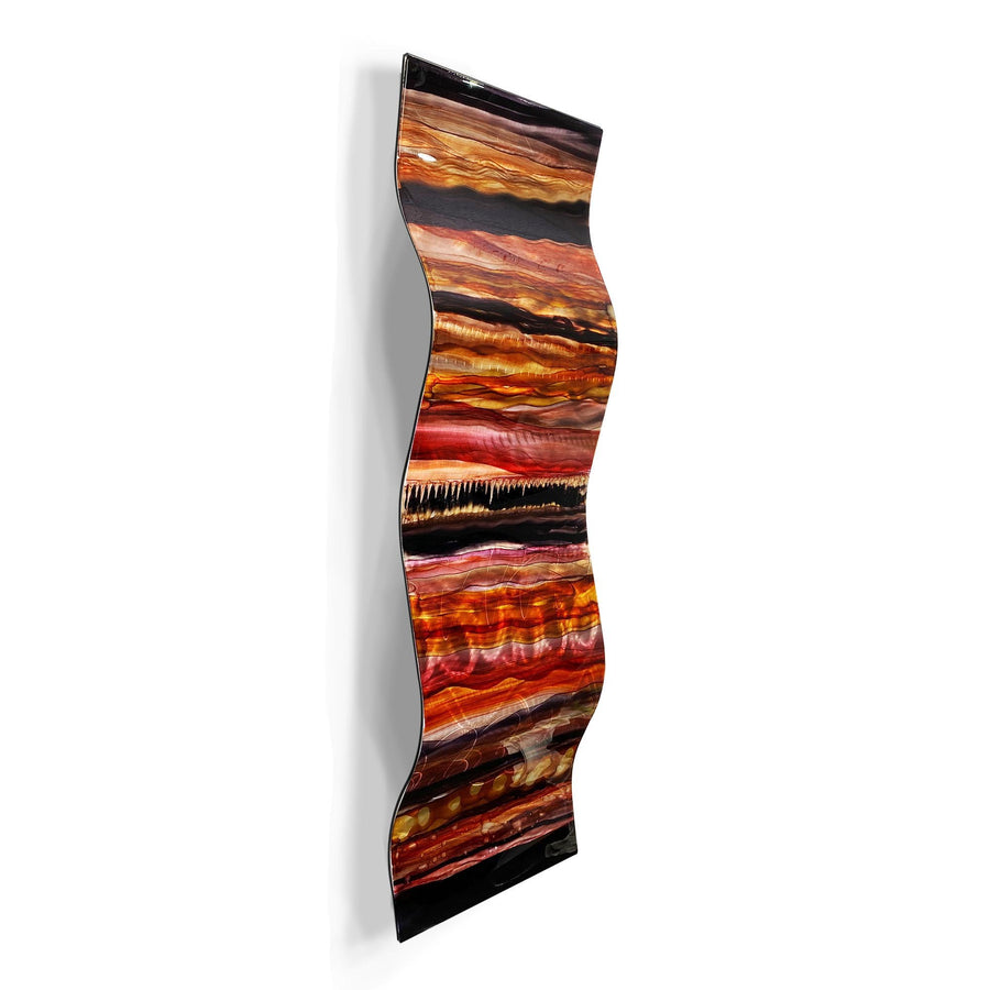 "Only One! EXTRA LARGE 57"" x 18"" Hand-Painted Jewel & Earthtone Fusion Wave  - JAC 1030 by Jon Allen"