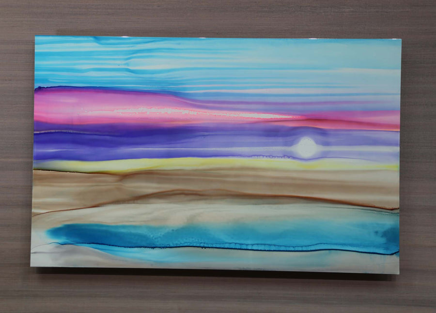 "Only One! 38"" x 24"" Original Painting - Blue, Pink, Purple ""Pastel Desert"" by Jon Allen"