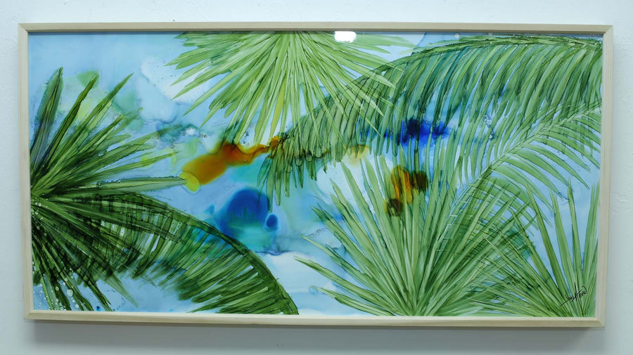 "Only One! 48"" x 24"" Tropical Palm Tree Painting -""Palm Beach Breeze"" by Jon Allen"