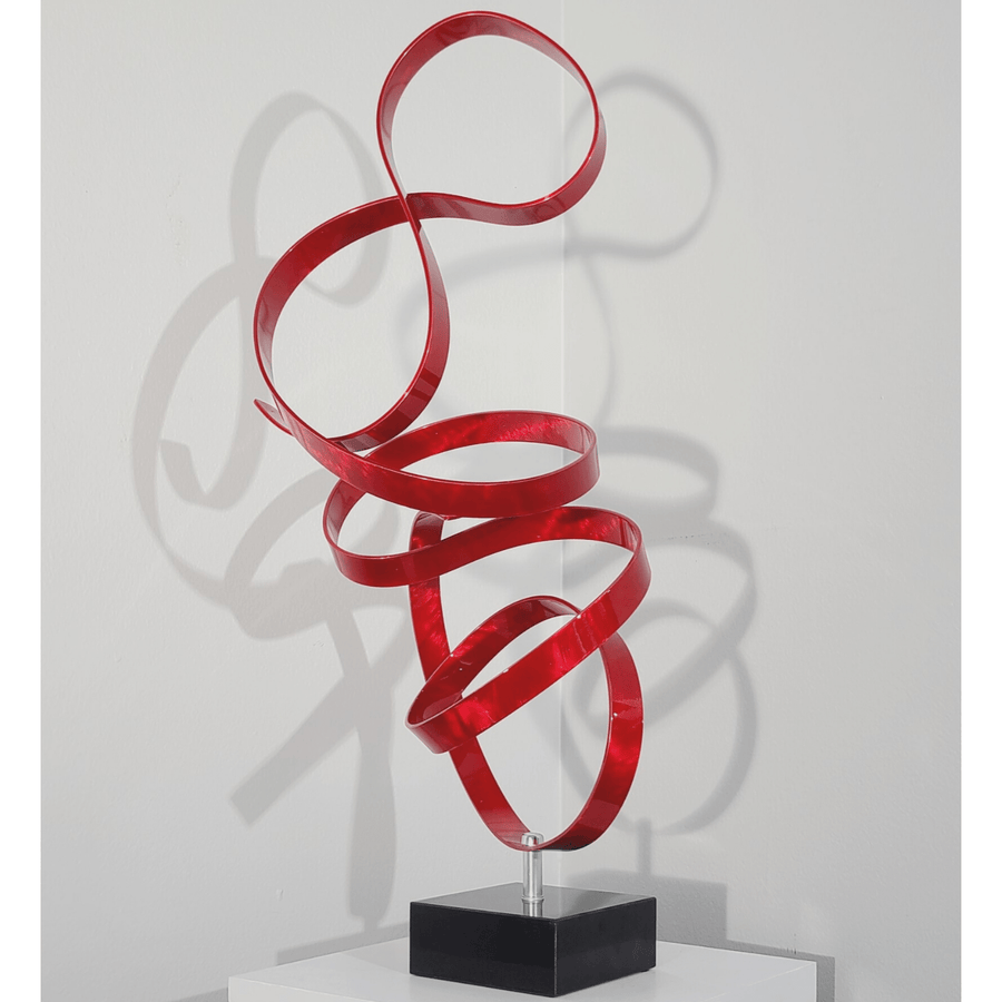 Only1! Contemporary Red Abstract Sculpture on Sleek Marble Base - Red Rapture by Jon Allen