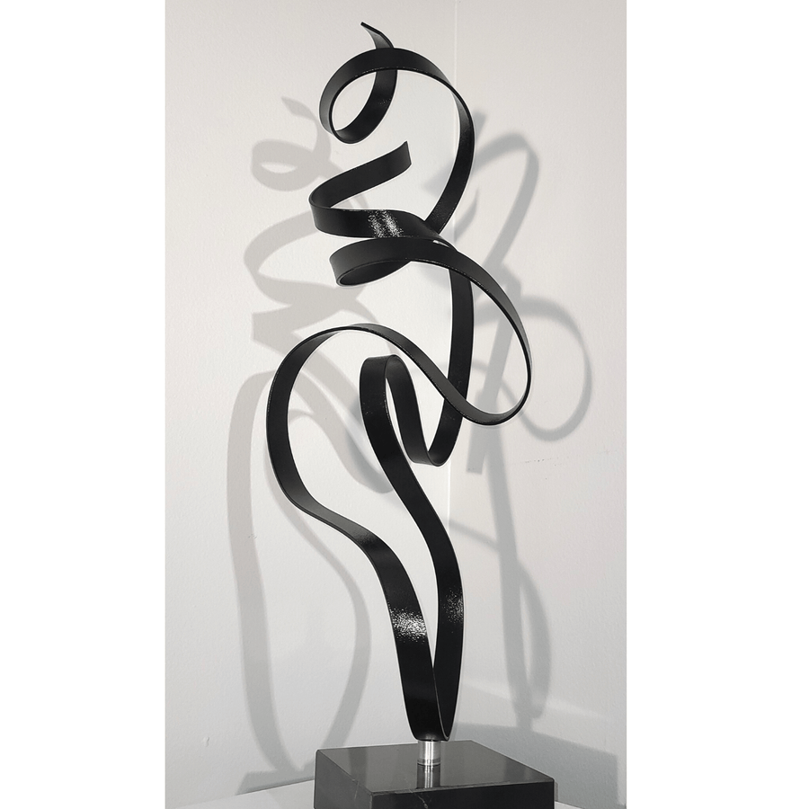 1 Available! Elegant Textured Black Abstract Modern Sculpture on Marble Base by Jon Allen