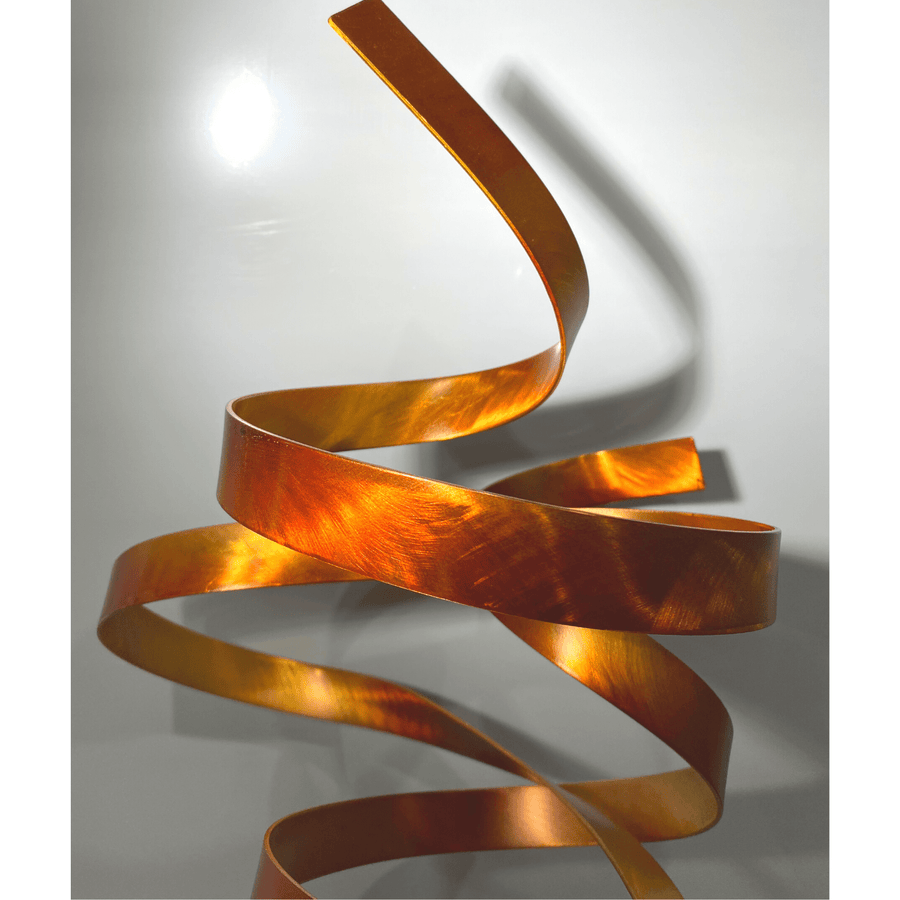 Only 1! Rustic Amber & Gold Hand-Painted Sculpture on Marble Base by Jon Allen