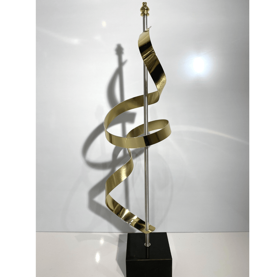 Unique, Gold Abstract Modern Sculpture with Black Marble Base by Jon Allen