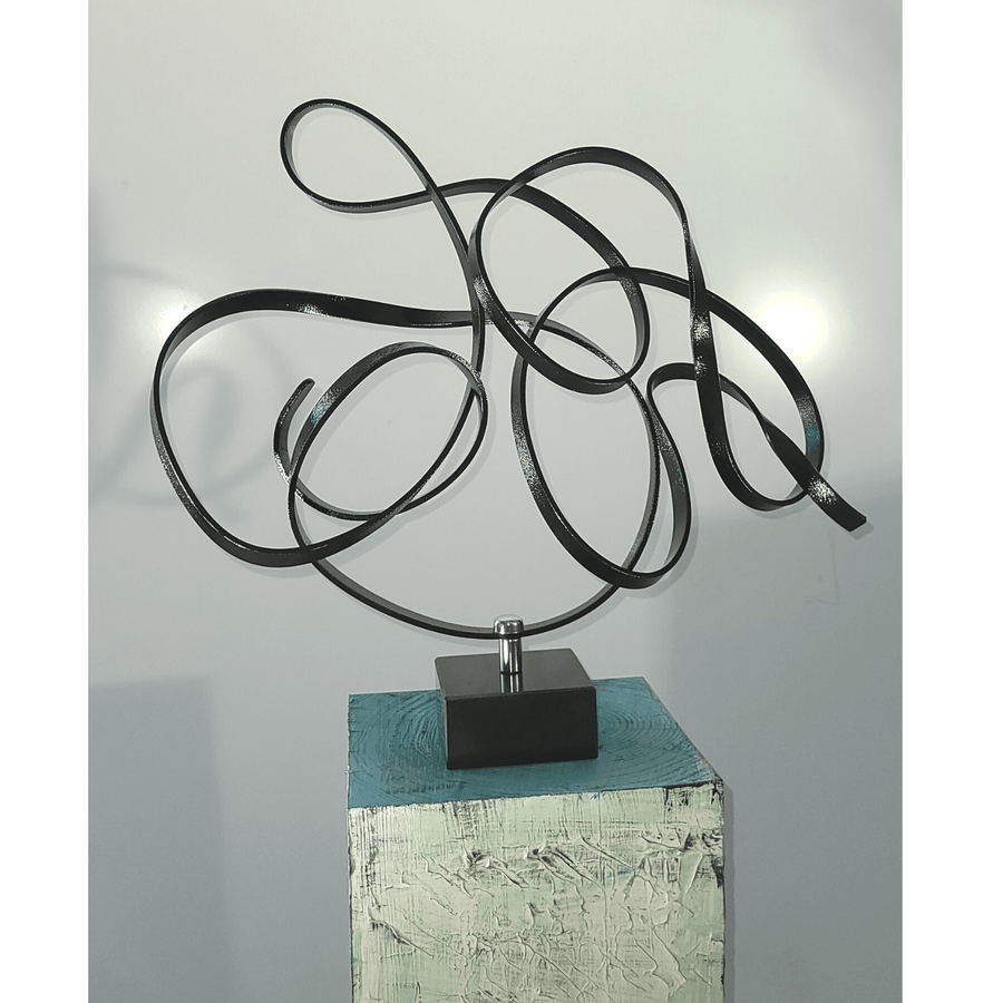 1/1 Limited Edition Sophisticated Black Abstract Sculpture by Jon Allen