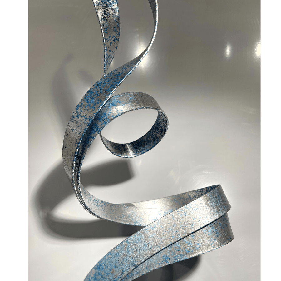 Abstract Hand-Textured Blue & Silver Sculpture with Black Marble Base by Jon Allen