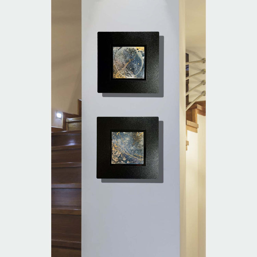 "Elements: View from Space, Set of Two 12"" x 12"" Blue & Gold Fusion Wall Art"