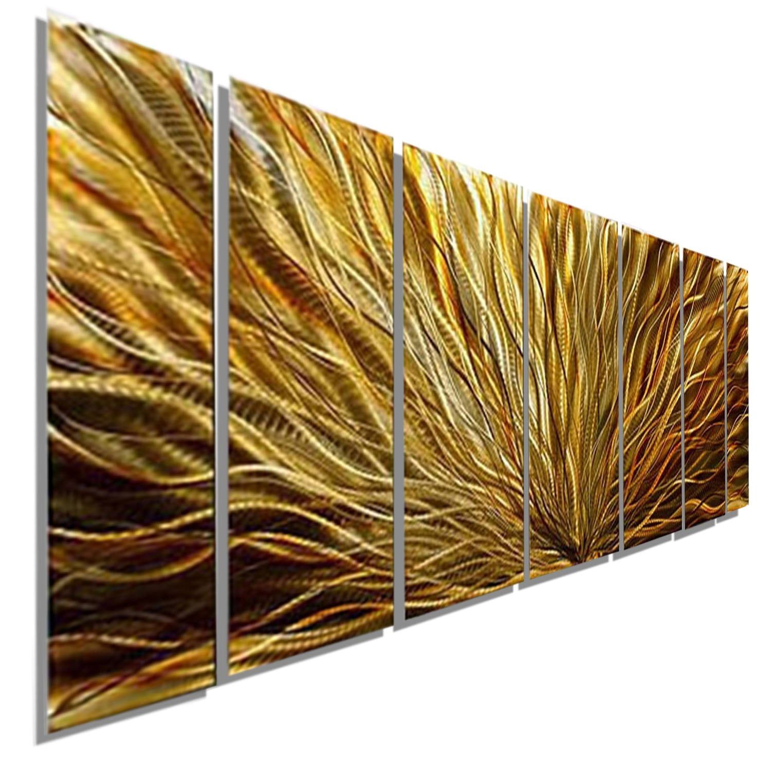 Gold & Amber Tones Modern Metal Wall Painting by Jon Allen - Amber ...