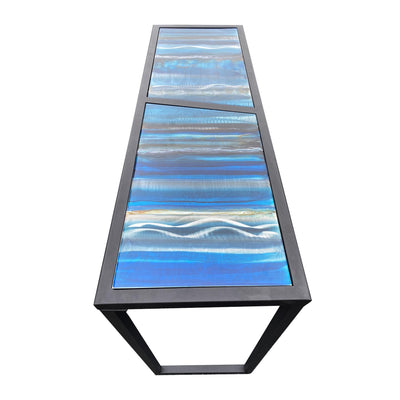 One of a Kind Multi-Color Metal Table Blue & Gold Tones Hand-Painted by Jon Allen - Table 2
