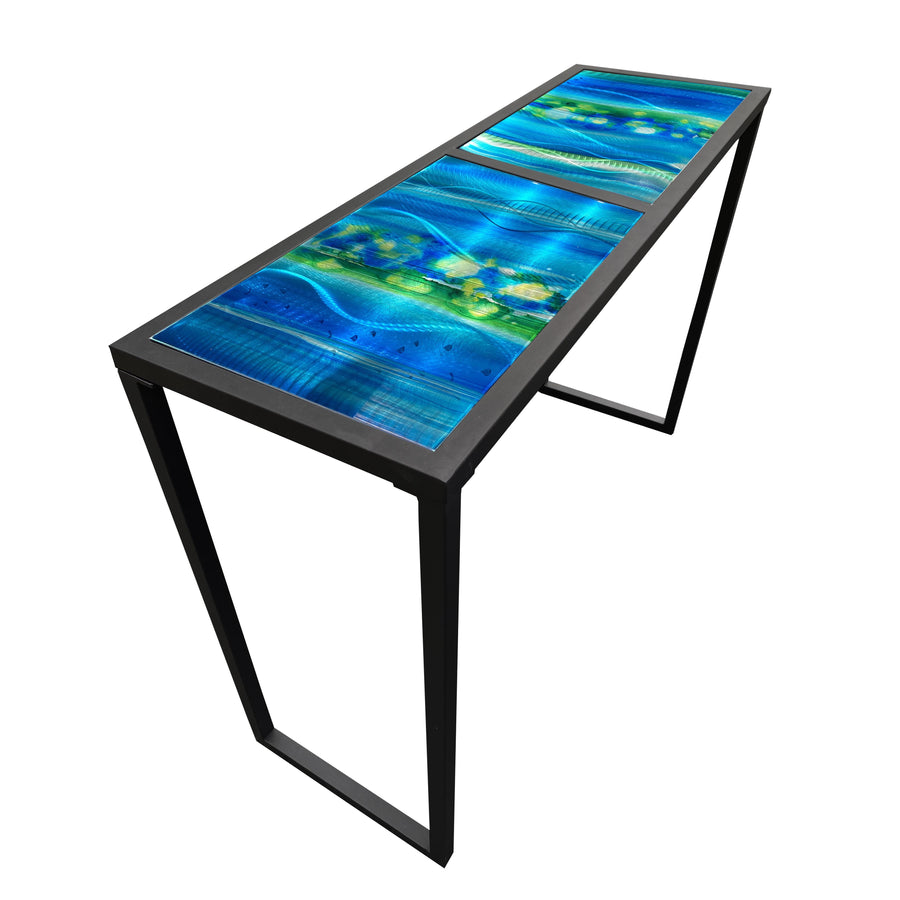 One of a Kind Colorful Metal Table Blue & Green Tones Hand-Painted by Jon Allen - Table 3