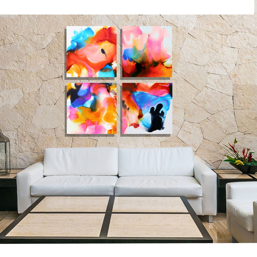 "Blazing Sky Squares by Jon Allen - Huge 48"" x 48"" art, only one"