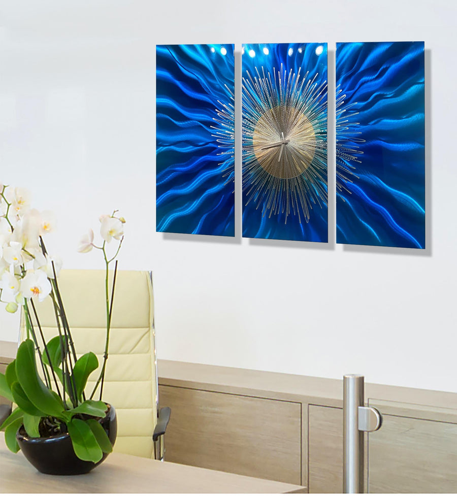 Blue Sunburst Clock