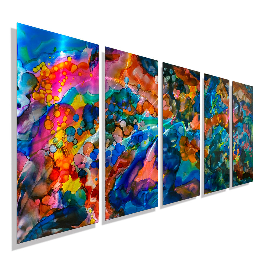"Extra Large Colorful Contemporary Abstract Painting on Metal - Only 1! 84"" x 36"" Melody XL"