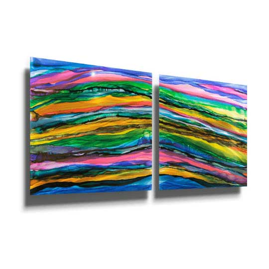 "2 squares each measuring 24"" x 24"" Abstract Original Vibrant Painting - Only 1! JAC 610 by Jon Allen"