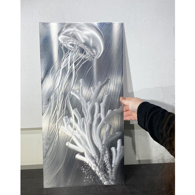 "Only one!: Gorgeous Silver Tropical Jellyfish Panel Art 12"" x 24"" - HLE14"