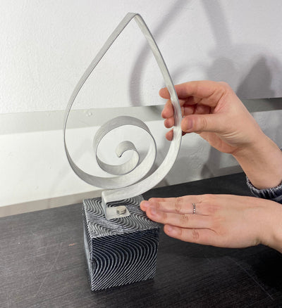 Only One! Silver Teardrop, Unique Gift - Accent Sculpture for desk by Jon Allen - HLE19