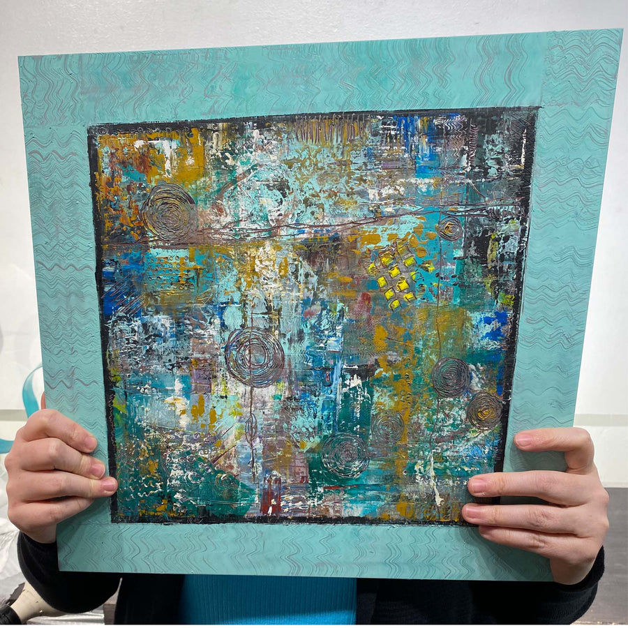 "Aqua Multicolor Abstract Painting by Jon Allen 16"" x 16"" - HLE21"