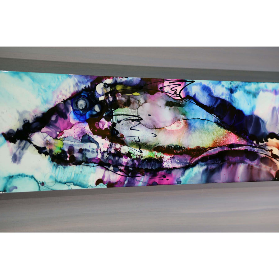 "Only One! Vibrant Original Abstract Painting - Pompano - 48"" x 12"""