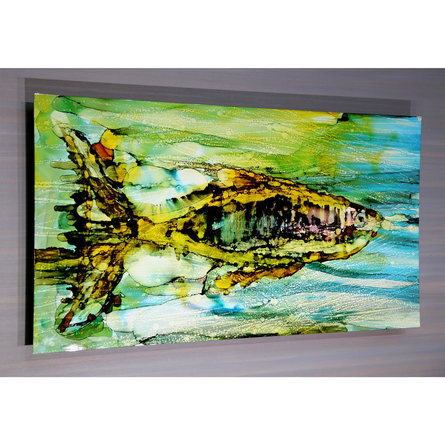 "45"" x 24"" Vibrant Abstract Fish Painting ""Painted Fish 1"" by Jon Allen - Only 1"
