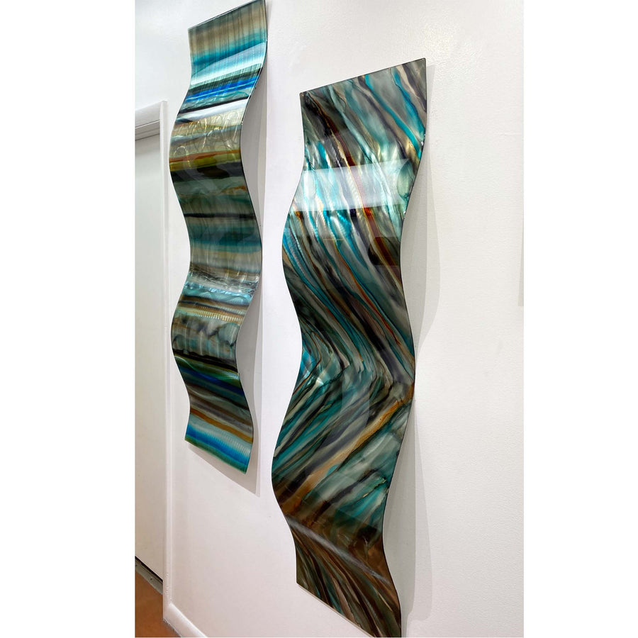 "Only One! EXTRA LARGE 57"" x 16"" Hand-Painted Blue & Earthtone Fusion Wave  - JAC 1031 by Jon Allen"