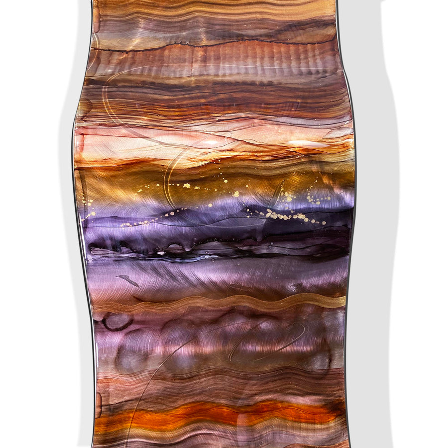 "Only One! 46"" x 12"" Hand-Painted Wave Earthtone & Purple- JAC 1027 by Jon Allen"
