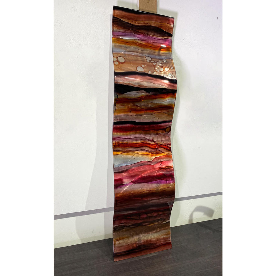 "Only One! 46"" x 12"" Hand-Painted Wave Red, Charcoal & Earthtones - JAC 1028 by Jon Allen"
