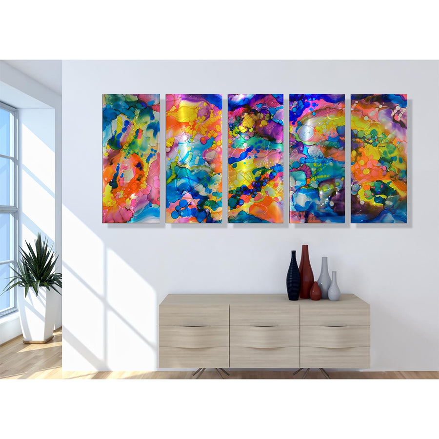 "Extra Large Colorful Abstract Limited Edition Painting on Metal - Only 1! 84"" x 36"" Harlequin XL"