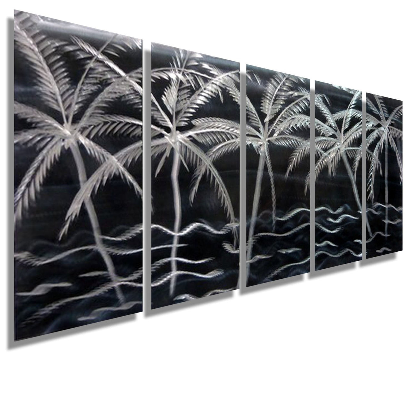Aqua Silver & Gold Tropical Beach Metal Wall Art Panels By
