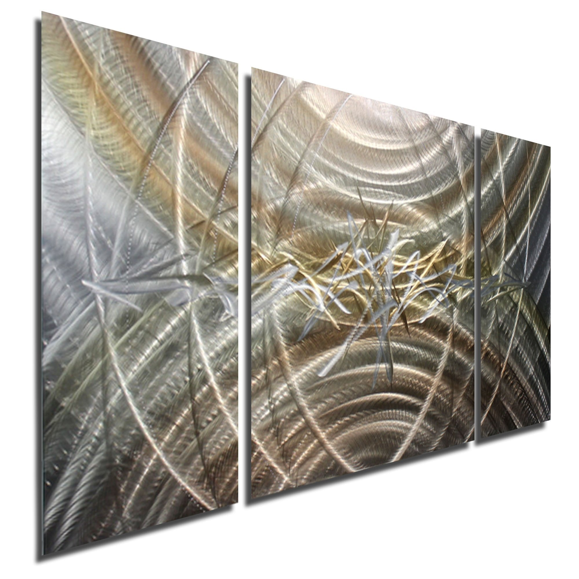 Statements2000 Abstract Metal Wall Art Gold Silver Panel Jon Allen Resuscitate 3