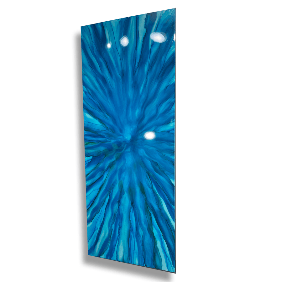 "Bold, Blue One of a Kind Abstract Painting 40"" x 16"" - Revere"