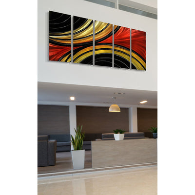 Black, Gold & Red Abstract Metal Wall Art Panels by Jon Allen 64\