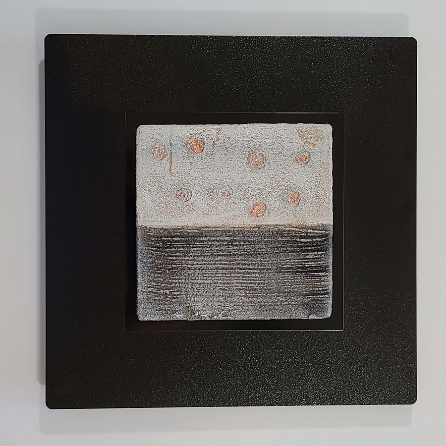 "Elements: 12"" x 12"" Gray Fusion & Copper Abstract Wall Art - Square 1"