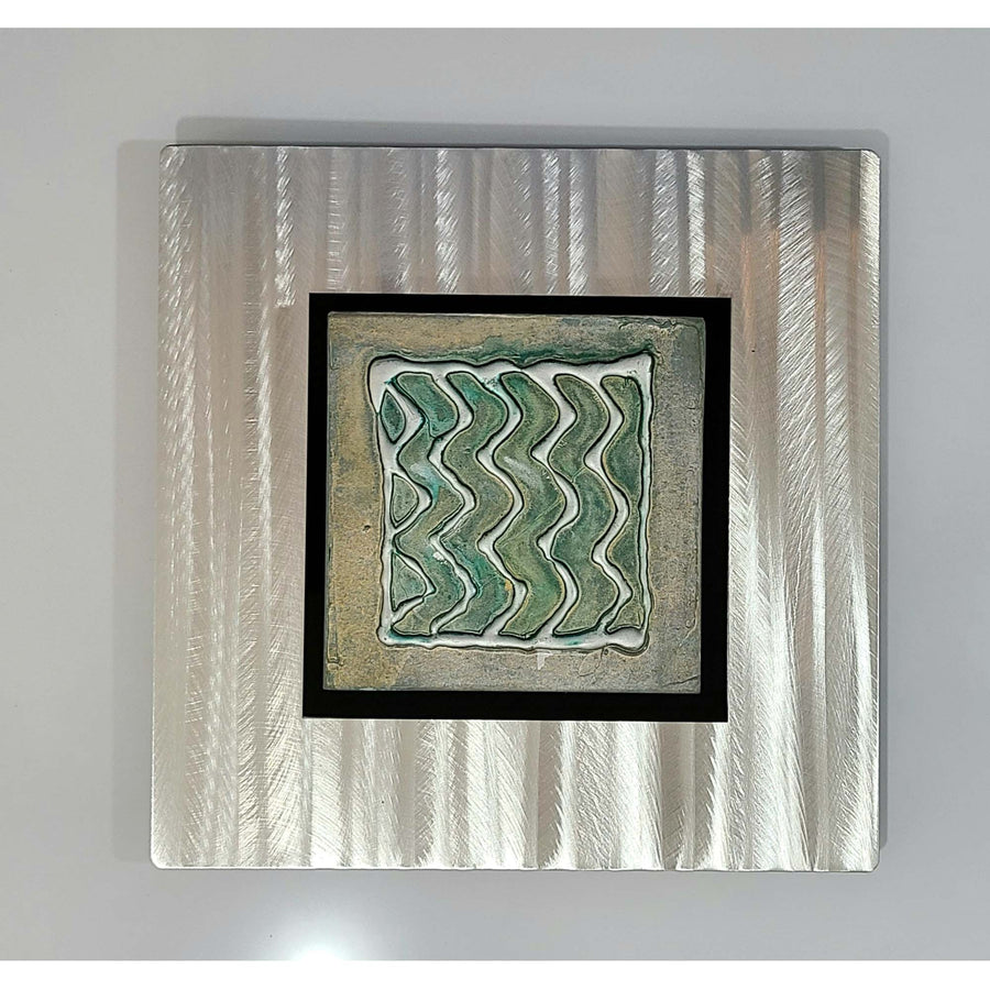 "Elements: 12"" x 12"" Fusion of Teal & Silver Abstract Wall Art - Square"