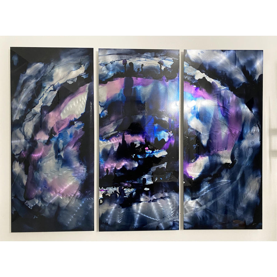 Purple & Black Hand-Painted Modern Abstract Painting by Jon Allen - Violet Breeze