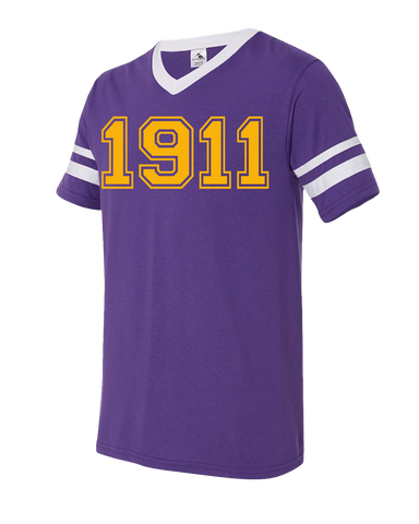 Omega Psi Phi 1911 Stripe Tee - Letters Greek Apparel - Black Greek Paraphernalia