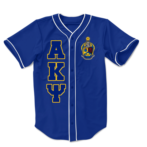 Alpha Kappa Psi Embroidered Greek Baseball Jersey - Letters Greek Apparel-Black Greek Paraphernalia-Divine Nine Apparel