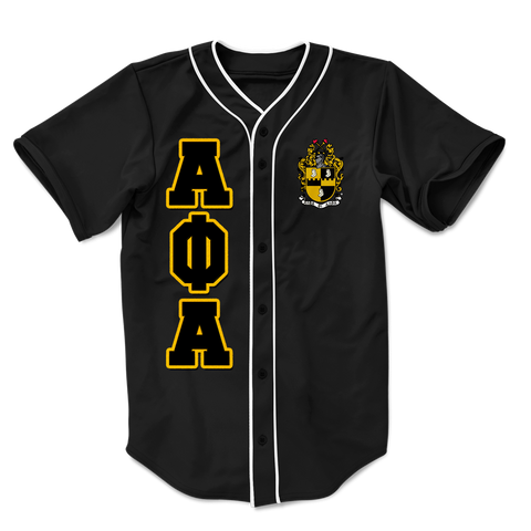Alpha Phi Alpha Embroidered Greek Baseball Jersey - Letters Greek Apparel-Black Greek Paraphernalia-Divine Nine Apparel